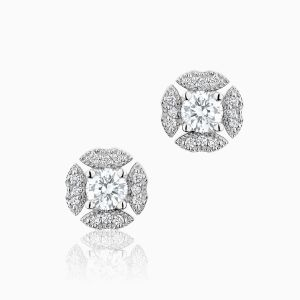 Front View of the Ecksand Pure Diamond Vintage Diamond Stud Earrings