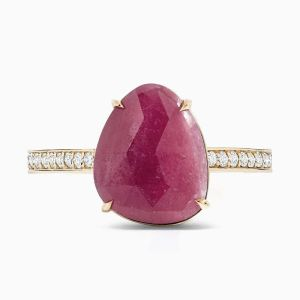 Front View of the Ecksand Mosaic Pink Sapphire Cocktail Ring with Diamond Pavé