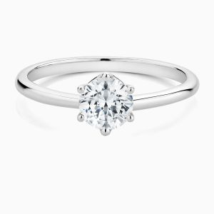 Front View of the Ecksand Six Prong Diamond Solitaire Engagement Ring with Hidden Diamond