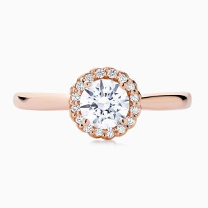 The Face View of the Ecksand Tapered Round Cut Diamond Rose Gold Halo Engagement Ring  Displayed