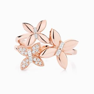 Front View of the Ecksand Wild Diamond Trio Butterfly Ring