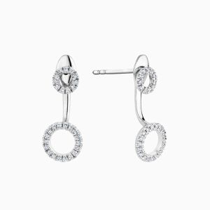 Nude Double Circle Diamond dangling Earrings face