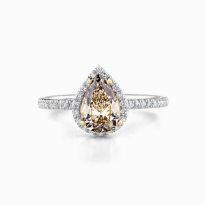 Stackable pear champagne diamond ring