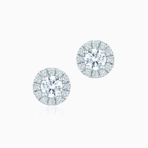 Front View of the Ecksand Pure Diamond Halo Diamond Stud Earrings