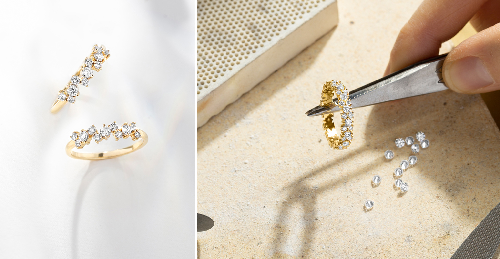 Two Ecksand Blossom Diamond Pavé Rings in the Ecksand Atelier