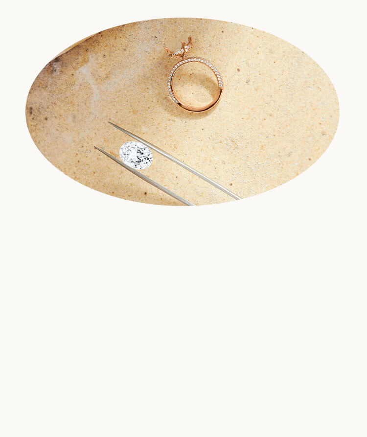 An Ecksand Custom Diamond Halo Pear Cut Morganite Engagement Ring featuring Accompanying Jewellers' Sketches in Workshop