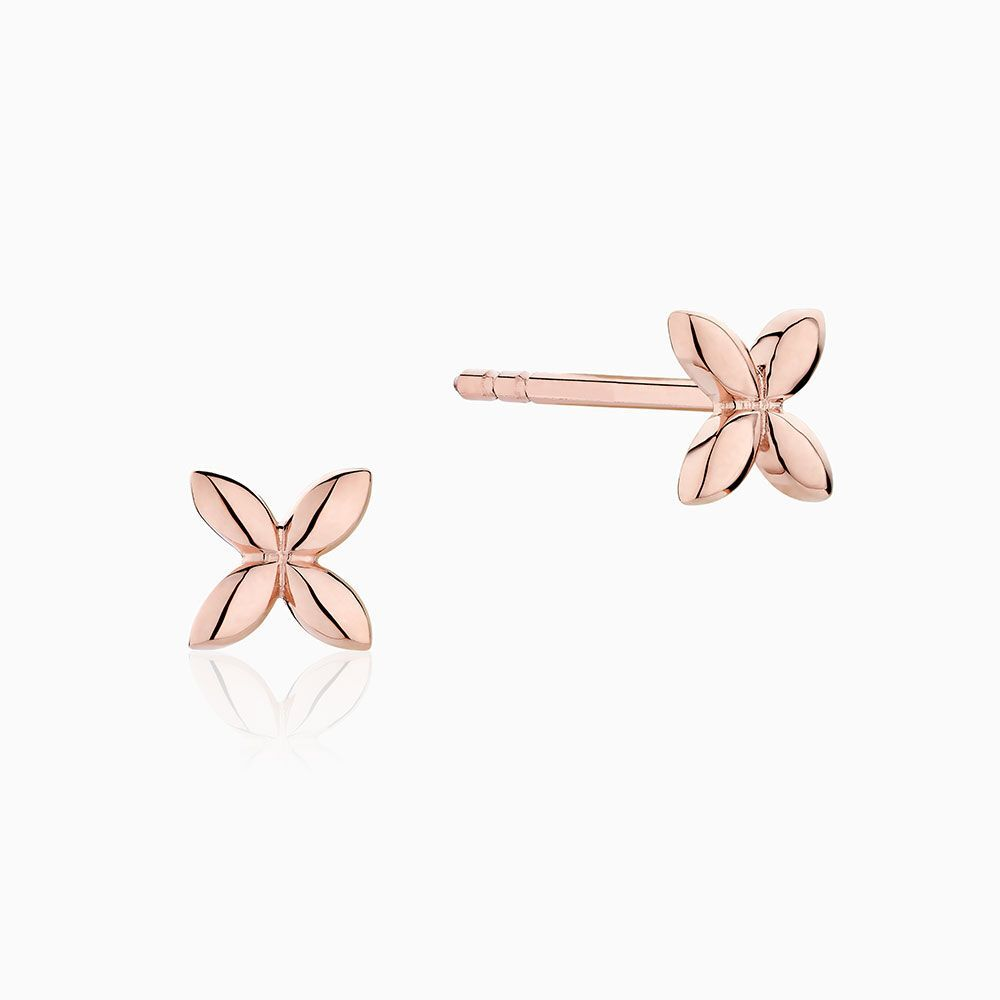 Front View of the Ecksand Tresses Twisted Bar Stud Earrings in Yellow Gold