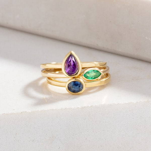 Stack of Three Ecksand Showcase Stackable Gemstone Rings in Yellow Gold