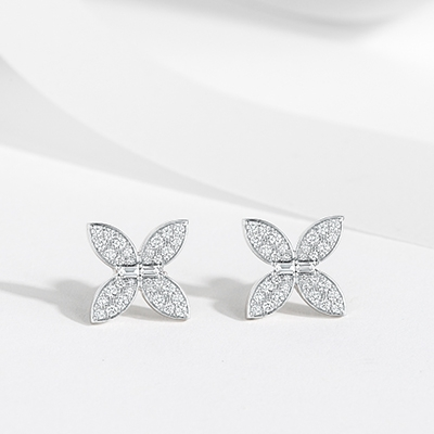 Front View of the Butterfly Diamond Stud Earrings in White Gold on White Background