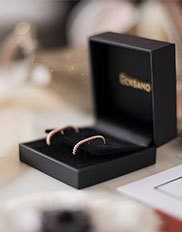 Pair of Ecksand Tresses Bar Stud Earrings in Rose Gold in the Ecksand Signature Black Box