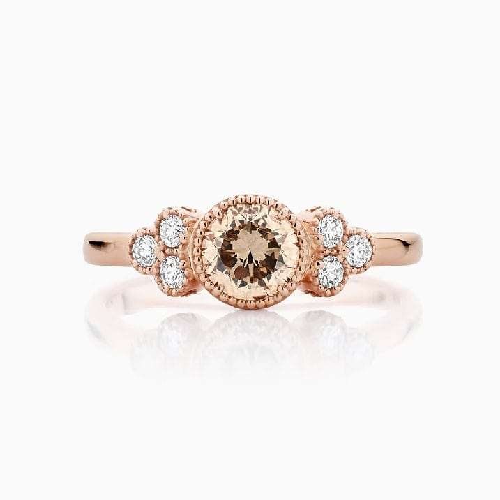 Front View of the Ecksand Champagne Diamond Engagement Ring with Side Diamonds in Rose Gold