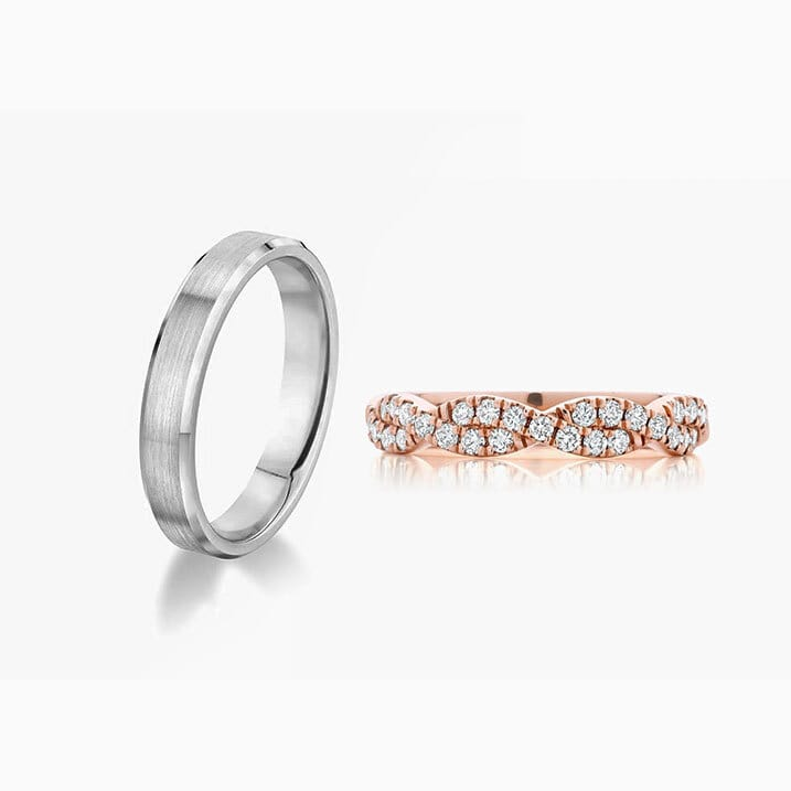 Front View of the Ecksand Twist Diamond Pavé Women Wedding Ring in White Gold