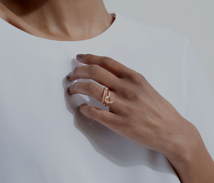 Ecksand Rose Gold Tresses and Solitaire Ring