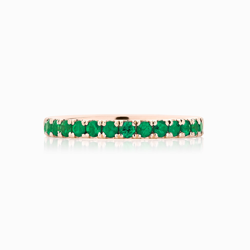 Front View of the Ecksand Emerald Ring in Rose Gold