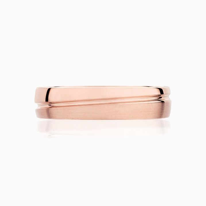 Front View of the Ecksand Non-Traditional Wedding Ring in Rose Gold