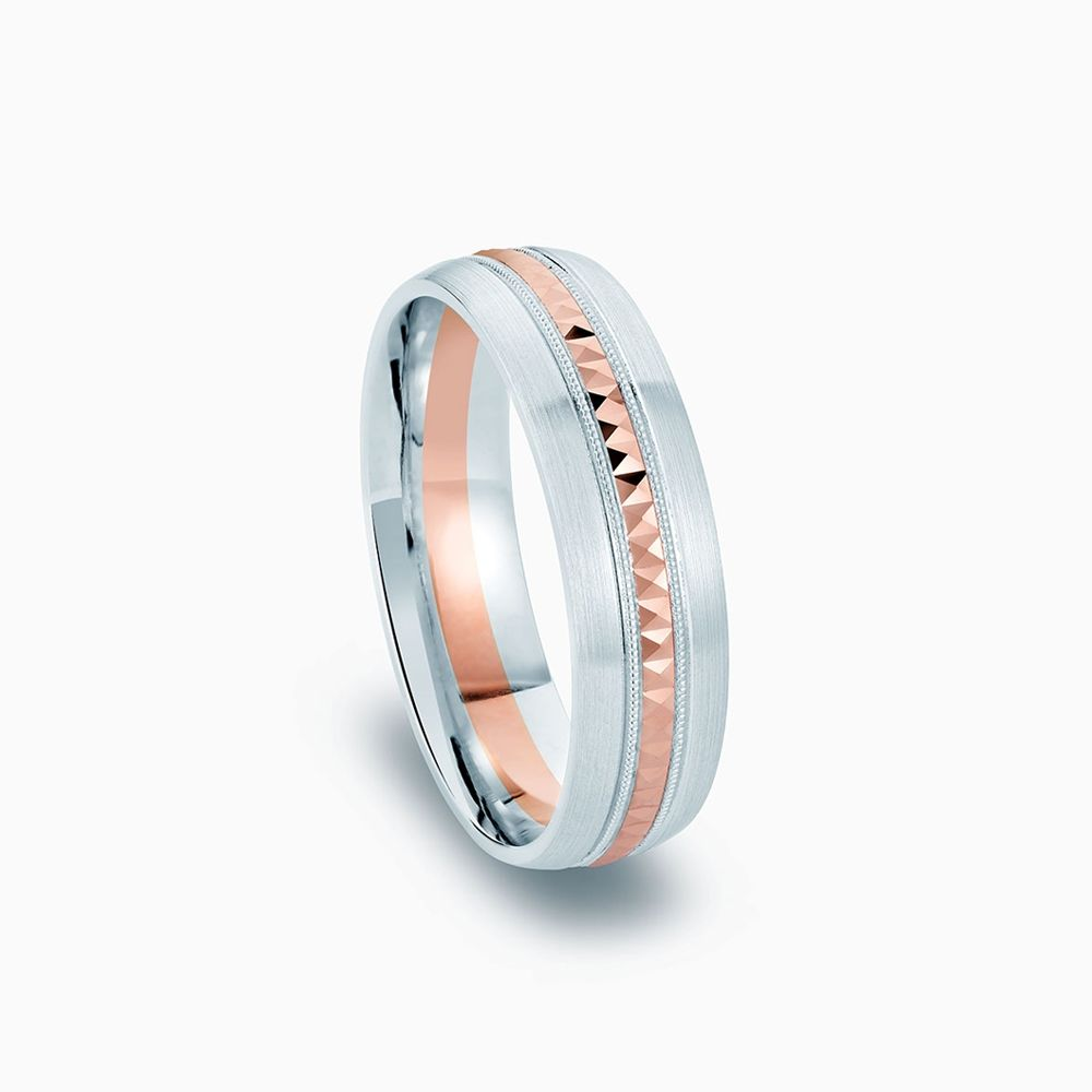Front View of the Ecksand Two-Tone Wedding Ring in White and Rose Gold