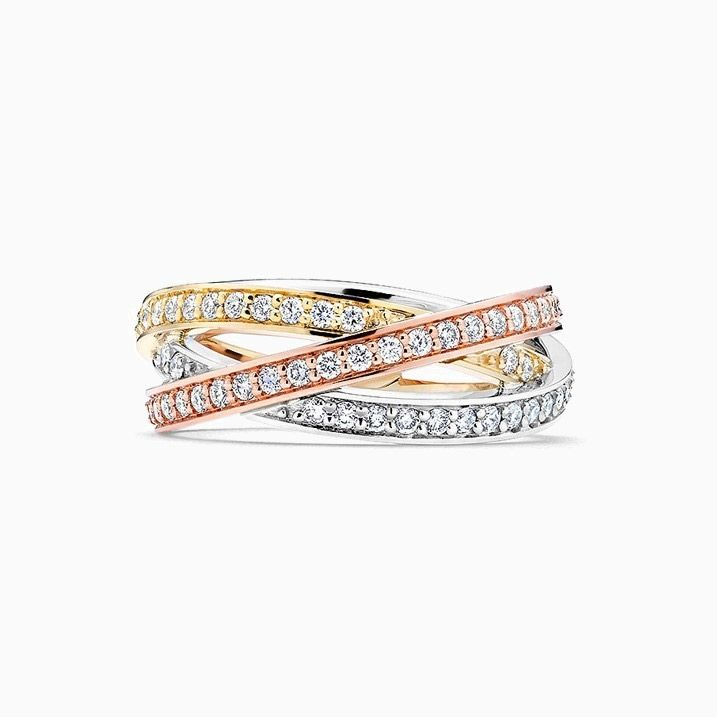 Front View of the Ecksand Non-Traditional Wedding Ring in Yellow, White and Rose Gold