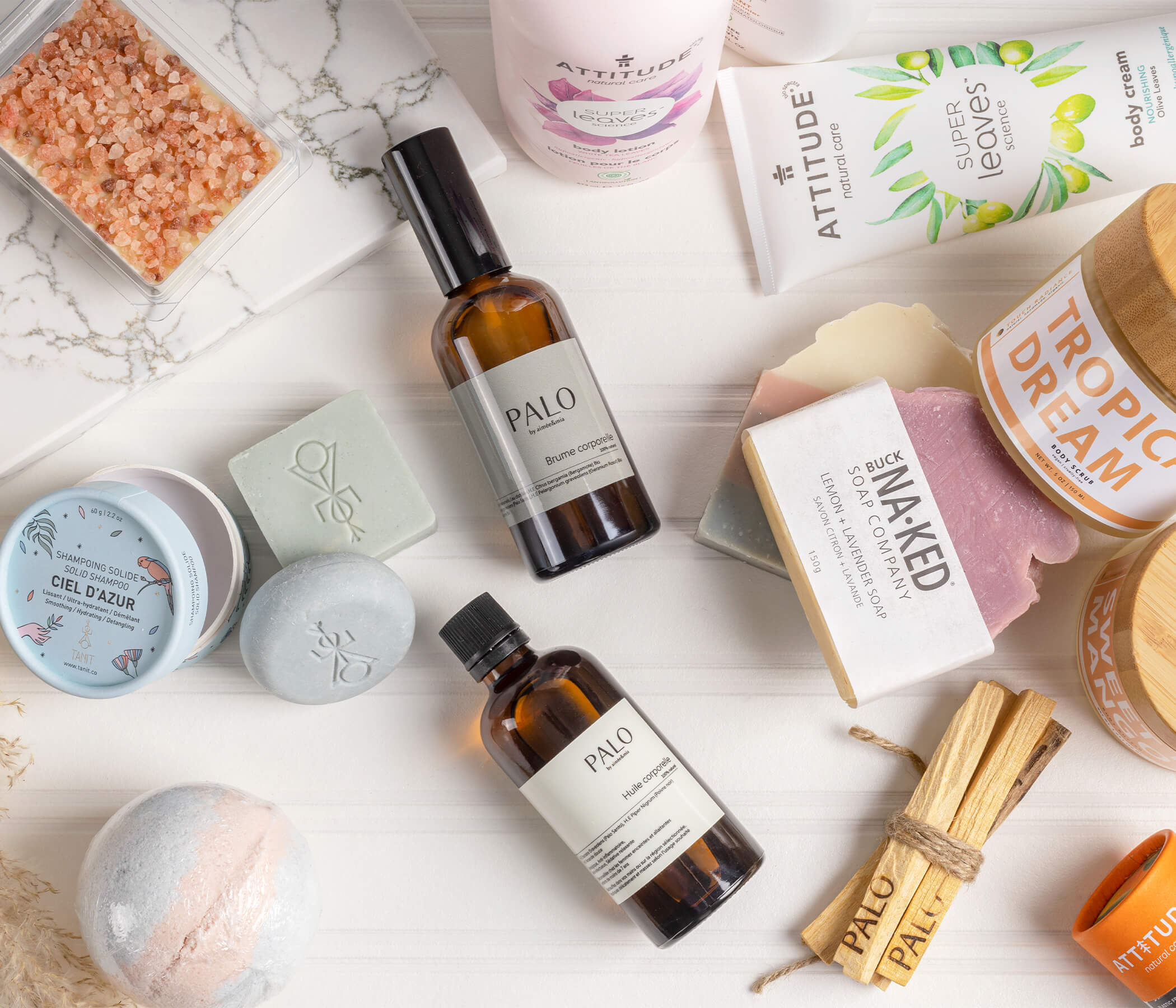 Flat lay of Eco-friendly products on marble table