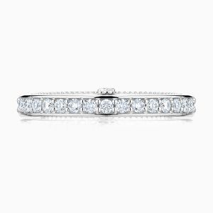 Front View of the Ecksand Vintage Double Band Milgrain Diamond Pavé Wedding Ring