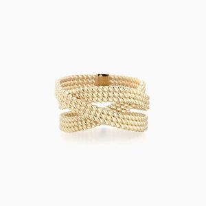 Front View of the Ecksand Tresses Twisted Cuff Ring