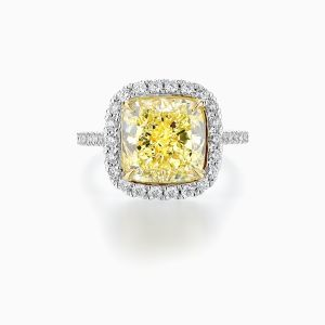 Fancy Yellow Cushion Diamond Halo Ring