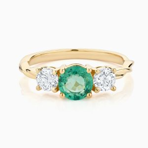 Ecksand Twist Emerald Diamonds Three Stone Engagement Ring Face