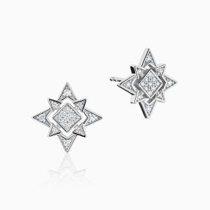 Ecksand North Star Shaped Diamond Earrings Face