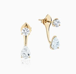 Front View of the Ecksand Pure Gemstone White Sapphire Jacket Earrings
