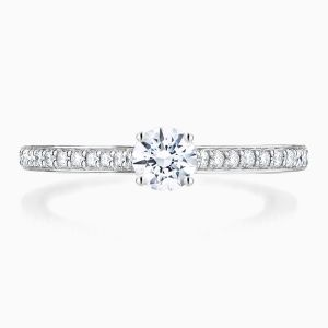 Ecksand Round Solitaire Engagement Ring With Diamond Band Face