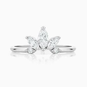 Front View of the Ecksand Iceberg Curved Marquise Diamond Ring