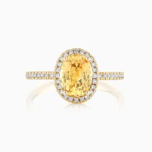 Ecksand yellow sapphire halo engagement ring face