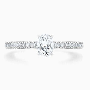 Ecksand Secret Heart Oval Cut Diamond Engagement Ring Face