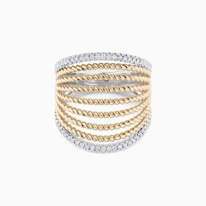 Front View of the Ecksand Tresses Two-Tone Large Diamond Fan Cuff Ring
