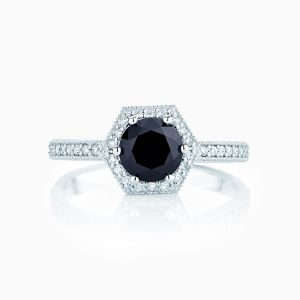 Front View of the Ecksand Vintage Hexagonal Halo Black Diamond Engagement Ring with Diamond Band