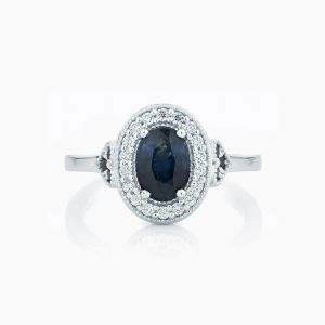 Ecksand halo oval blue sapphire engagement ring face
