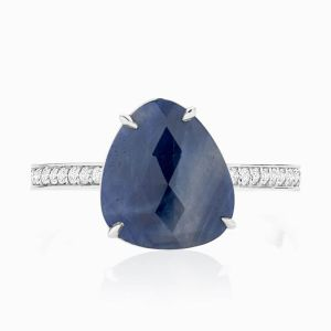 Front View of the Ecksand Mosaic Sapphire Cocktail Ring with Diamond Pavé in White Gold