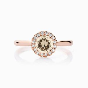 Ecksand halo champagne diamond engagement ring rose gold face