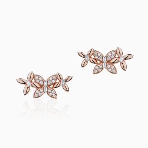 Front View of the Ecksand Wild Diamond Trio Butterfly Ear Climber Earrings