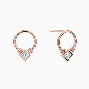 Ecksand boucles d'oreilles en diamants coupe princesse face