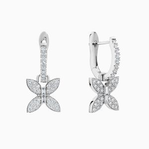 Front View of the Ecksand Wild Diamond Pavé Butterfly Dangle Earrings