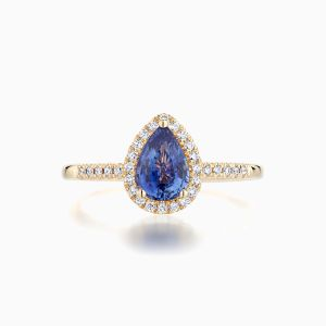 Ecksand Blue Sapphire Halo Engagement Ring Face