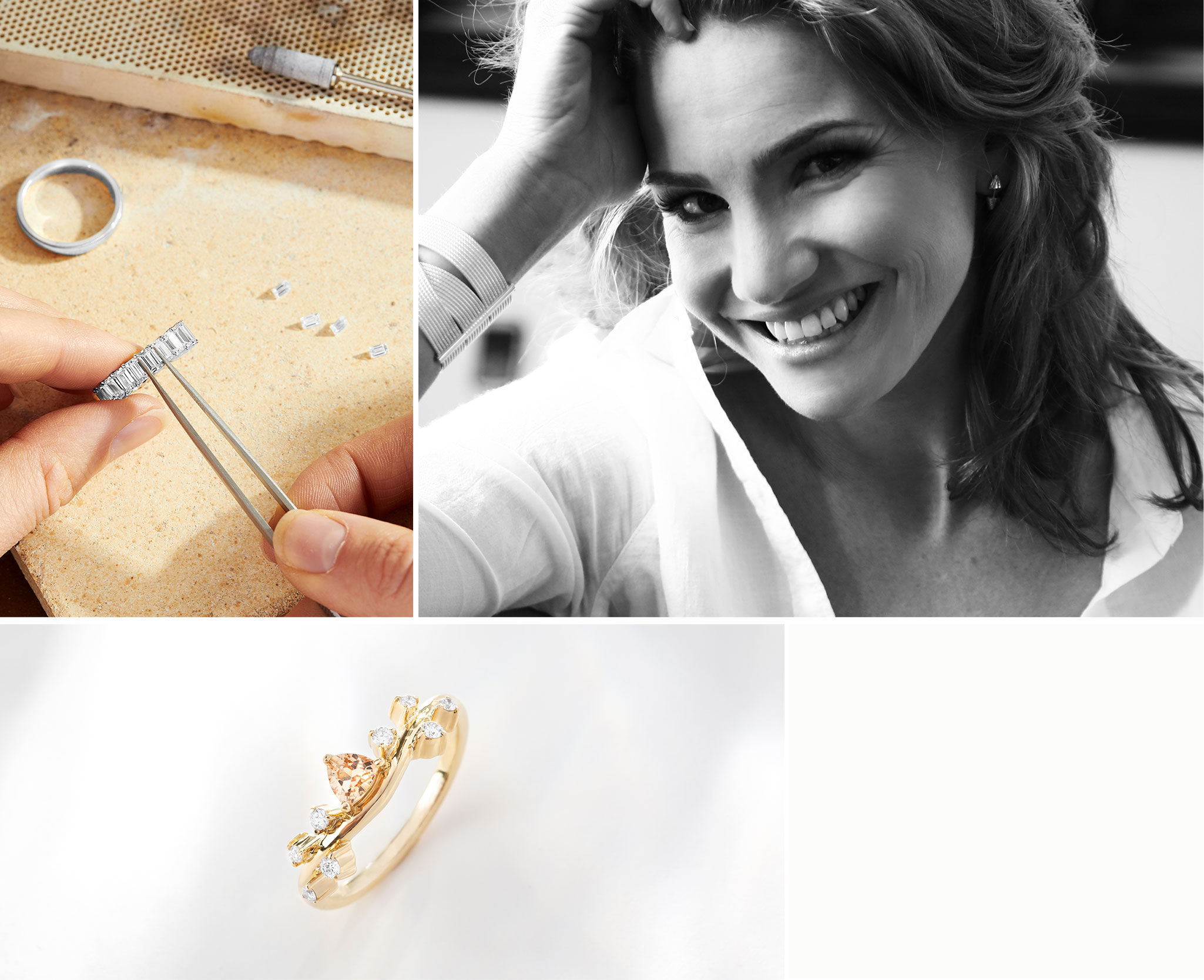 Jeweller Crafting the Ecksand Emerald Cut Diamond Eternity Ring, Portrait of Ecksand Creative Director Erica Bianchini, Angle of the Ecksand Diamond Pavé Crown Gemstone Ring