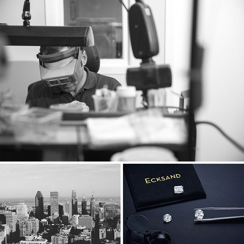 Jeweller Crafting a Piece of Jewelry in the Ecksand Atelier, A Shot of Downtown Montreal, and an Assortment of Ecksand Conflict-Free Diamonds