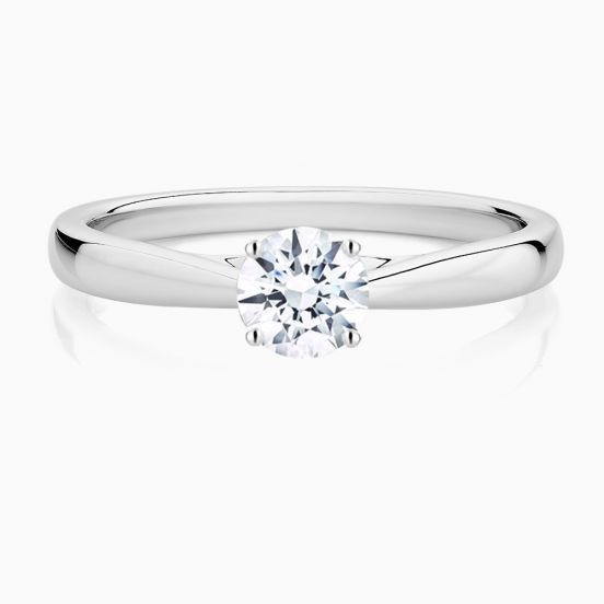 Front View of the Ecksand Secret Heart Diamond Engagement Ring in White Gold