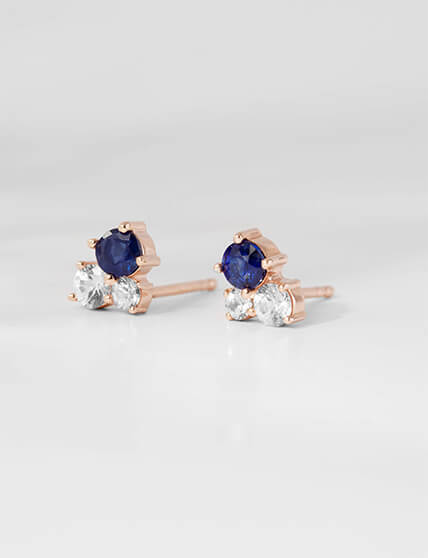 Pair of Ecksand Twist Diamond Pavé Flower Stud Earrings in Rose Gold