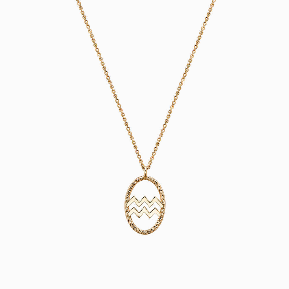 Ecksand Tresses Zodiac Necklace with Aquarius Pendant