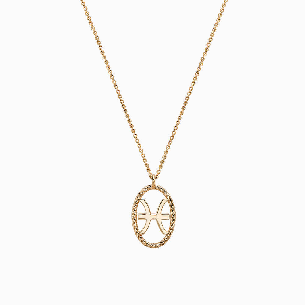 Ecksand Tresses Zodiac Necklace with Pisces Pendant