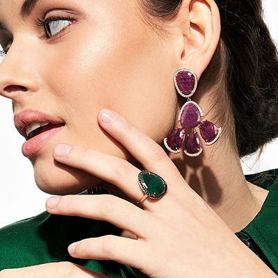 Model Wearing the Ecksand Mosaic Ruby Dangle Earrings with Diamond Pavé in Rose Gold and the Ecksand Mosaic Aventurine Cocktail Ring with Black Spinel Pavé in Yellow Gold