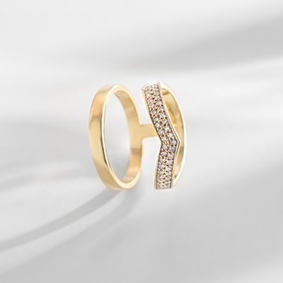 Angle View of the Ecksand North Diamond Double Band Ring in Yellow Gold