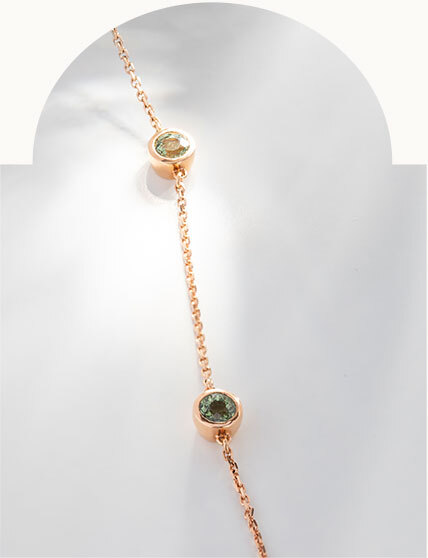 The Ecksand Showcase Three Green Sapphire Bracelet in Rose Gold